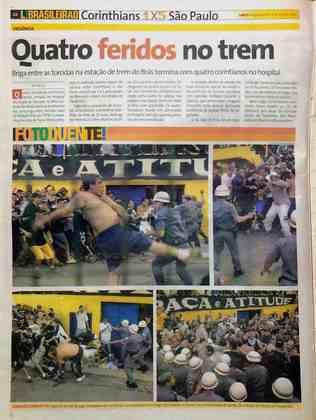 O jogo também ficou marcado por cenas de violência. Torcedores do Corinthians entraram em confronto com a PM ao tentarem invadir o gramado (12 foram presos). Também houve briga entre as duas torcidas na CPTM.
