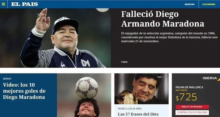 O jornal 'El País' repercutiu a morte da lenda do esporte, Diego Armando Maradona.