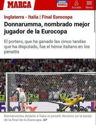 """O jornal espanhol """"Marca"""" lembrou da importância do goleiro Donnarumma, eleito melhor jogador da Eurocopa."""