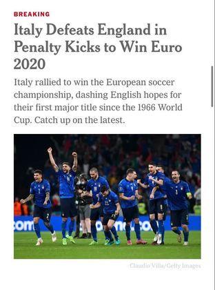 """O jornal estadunidense """"The New York Times"""" também noticiou a vitória italiana."""