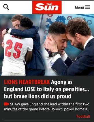 """O jornal inglês """"The Sun"""" ressaltou o sofrimento pela derrota."""