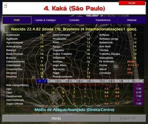 O jovem Kaká vinha em alta no São Paulo.