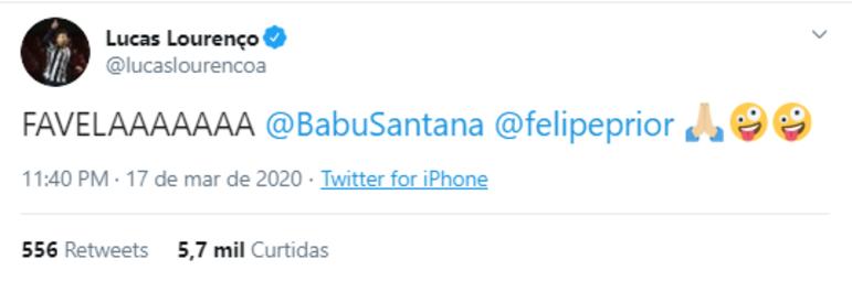 O jovem meia Lucas Lourenço, do Santos, também vibrou com a permanência de Babu no BBB na última terça-feira. O santista conta com 21,6 mil seguidores no Twitter e 74,4 mil no Instagram.