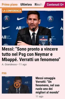 O La Gazzetta dello Sport destaca frase de Messi sobre Neymar, Mbappé e Verratti, novos companheiros de clube