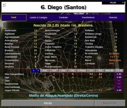 O meia Diego, hoje no Flamengo, estava começando a aparecer no Santos.