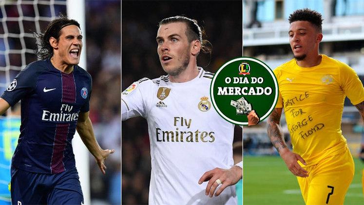 O mercado da bola foi agitado nesta segunda-feira. Entre as movimentações, destaque para Cavani podendo jogar no futebol espanhol, Bale mexendo com os ingleses e Sancho definindo seu futuro. Veja estas e outras do vaivém.