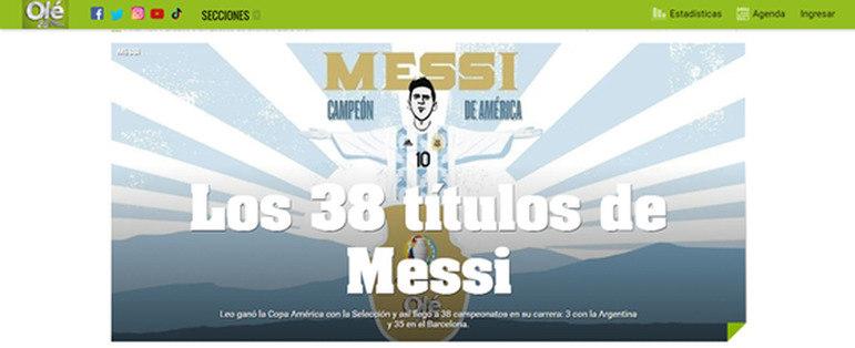 O mesmo Olé colocou a imagem de Messi no formato do Cristo Redentor e citou os 38 títulos do craque.