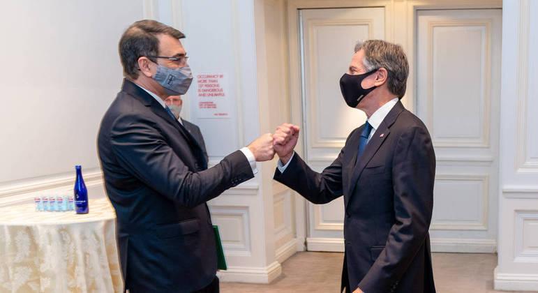 O ministro das relações Exteriores, Carlos França, e o secretário de Estados dos EUA, Antony Blinken