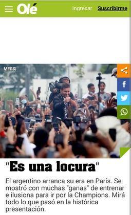 O Olé, da Argentina, destacou a festa dos torcedores do Paris Saint-Germain pela chegada de Messi