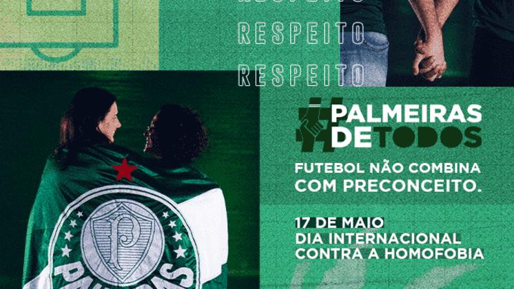 O Palmeiras escreveu que futebol é um esporte inclusivo e pediu combate à homofobia.