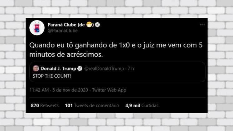 O perfil oficial do Paraná Clube também brincou com o tweet de Donald Trump