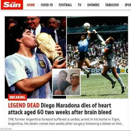 O periódico britânico também repercutiu a morte de Maradona com imagens da Copa de 1986 e o lendário e emblemático gol de mão (La mano de Díos).
