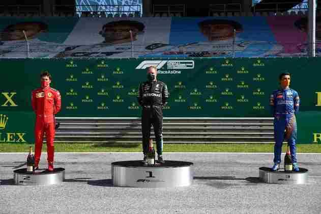 O pódio do GP da Áustria, abertura da temporada 2020 da Fórmula 1