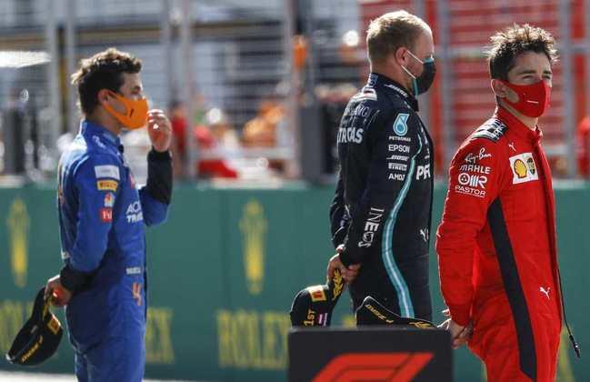 O pódio do GP da Áustria foi feito no 'novo normal', com distanciamento e na pista