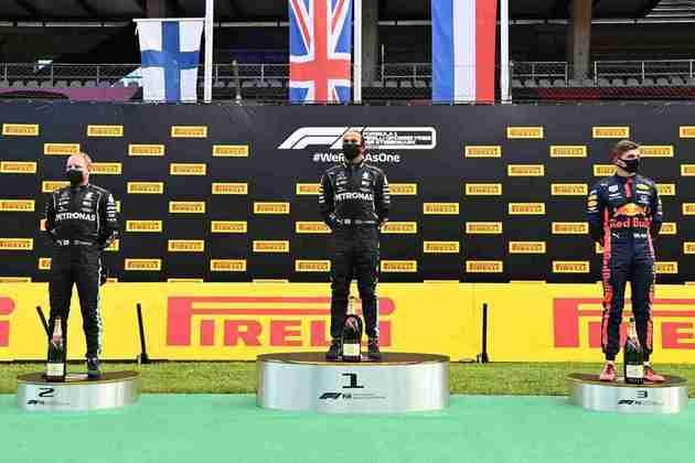 O pódio do GP da Estíria com os três primeiros colocados