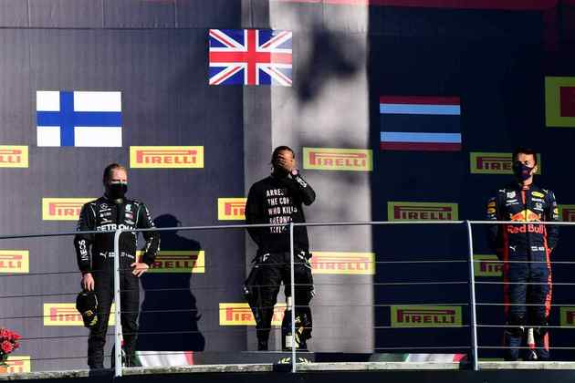 O pódio do GP da Toscana de 2020