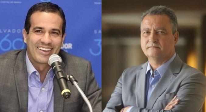 Prefeito Bruno Reis (DEM) e governador Rui Costa (PT): boa avaliação da população