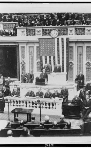 O presidente Calvin Coolidge em sua primeira mensagem ao Congresso, em 1923