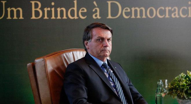 O presidente da República, Jair Bolsonaro, durante encontro com investidores