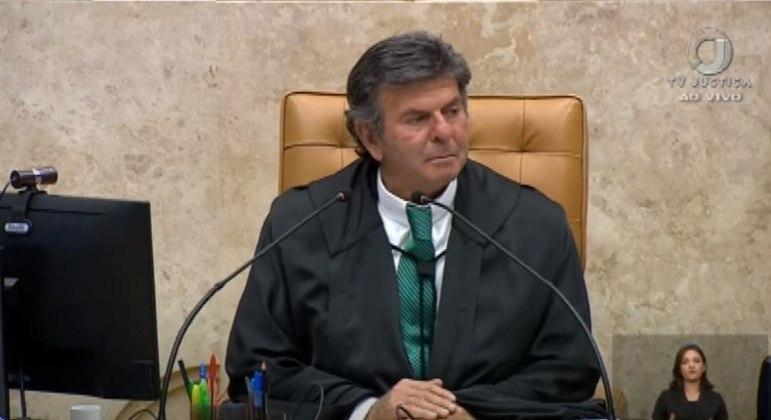 O presidente do STF, Luiz Fux, na primeira sessão após o recesso, nesta segunda (2)