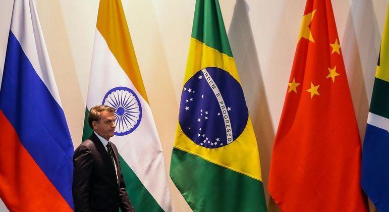 O presidente Jair Bolsonaro durante reunião do Brics