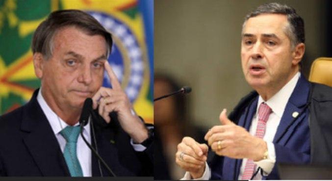 Bolsonaro e Barroso: presidente é contra deliberação do Judiciário sobre a adoção do voto impresso