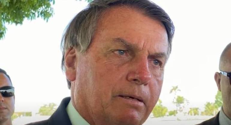 O presidente Jair Bolsonaro, em encontro com apoiadores