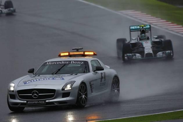 O safety-car continua muito presente em situações de chuva forte. Acima, no GP do Japão de 2014
