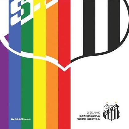 """O Santos também fez uma arte incorporando a bandeira LGBTQIA+ e destacou na postagem que o Peixe é o """"time do amor"""", encerrando com a hashtag """"#SuaBandeiraÉBemVinda""""."""