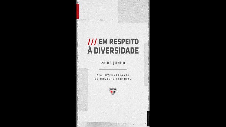 """O São Paulo afirmou que repudia """"toda e qualquer forma de preconceito"""", e publicou uma arte que não incluiu as cores da bandeira LBTQIA+. O clube também pediu respeito à diversidade."""