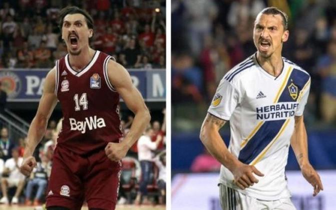O sueco Zlatan Ibrahimovic também tem um sósia que é de certa forma famoso. O jogador de basquete Nihad Djedovic, que atua na europa, impressiona pela semelhança com o ataque do Milan.