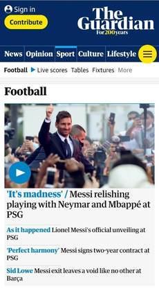 O The Guardian aborda sobre o novo trio do PSG liderado por Messi, mas com Neymar e Mbappé no ataque