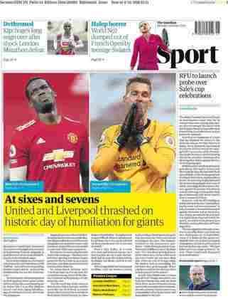 O The Guardian afirmou que os dois gigantes ingleses sofreram derrotas humilhantes na última rodada do Campeonato Inglês