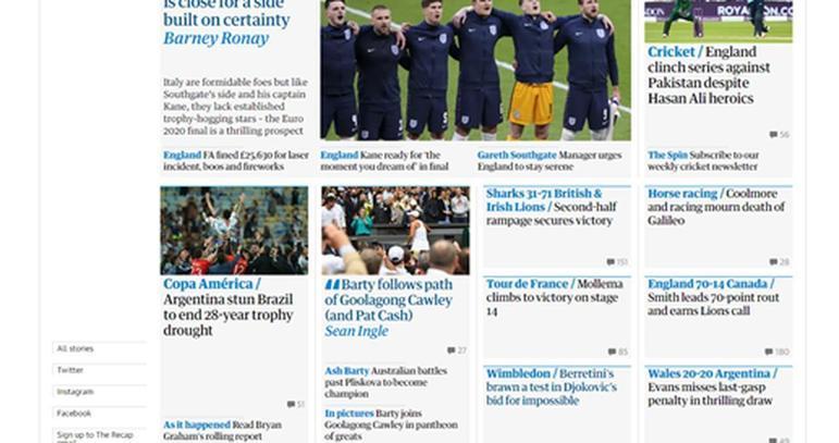 O The Guardian exaltou a quebra do jejum de 28 anos da seleção argentina sem títulos.