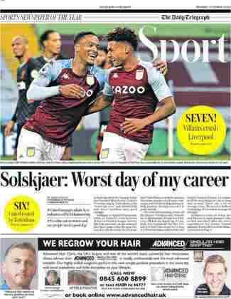 O The Telegraph adotou pela frase de Solskjaer, técnico do Mancheste United, afirmando que havia sido o pior dia da carreira dele como treinador