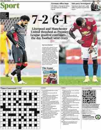 O The Times declarou que o futebol ficou louco no último final de semana com as goleadas de Liverpool e Manchester United