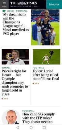O The Times destaca assuntos do futebol inglês, mas também abre espaço para comentar sobre a apresentação de Messi