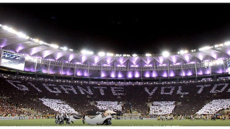 O time do Botafogo perdeu muitas peças de 2013 para 2014, mas isso não foi suficiente para a torcida deixar de acreditar. Em 2014, uma festa e um mosaico marcaram o retorno do Alvinegro à Libertadores. Em casa, vitória por 4 a 0 sobre o Deportivo Quito-EQU.