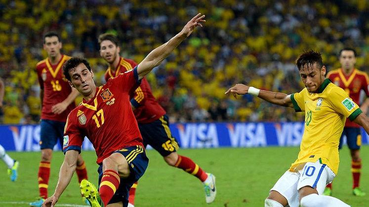 O título da Copa das Confederações - Sob o comando de Felipão, que substituiu Mano Menezes, o Brasil empolgou na Copa das Confederações, em 2013. A Seleção foi campeã no Maracanã com uma vitória contundente sobre a Espanha por 3 a 0, com dois gols de Fred e um de Neymar. A campanha aumentou o otimismo para a Copa do Mundo de 2014. O baque foi grande…