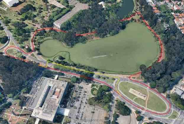 O traçado de Di Grassi tinha dez curvas numa pista de sentido anti-horário. A reta dos boxes fica na Avenida Pedro Álvares Cabral, depois passando pela Avenida República do Líbano e entrada no parque pelo portão nove