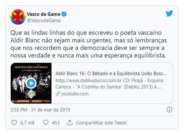 O Vasco já se manifestou contra o Golpe Militar de 64. Quando o ato completava 55 anos, o Cruz-maltino postou um vídeo com a música