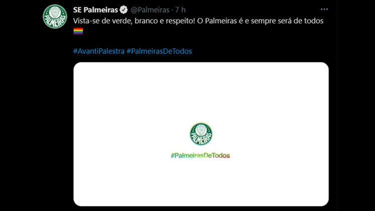"""O Verdão voltou a publicar o vídeo de 2020 afirmando que """"o Palmeiras nasceu das diferenças e por elas vai continuar existindo"""" com a hashtag """"#PalmeirasDeTodos"""". Para o Dia Internacional do Orgulho LGBTQIA+ de 2021 o clube fez um vídeo pedindo para que seus torcedores se vestissem de """"verde, branco e respeito""""."""