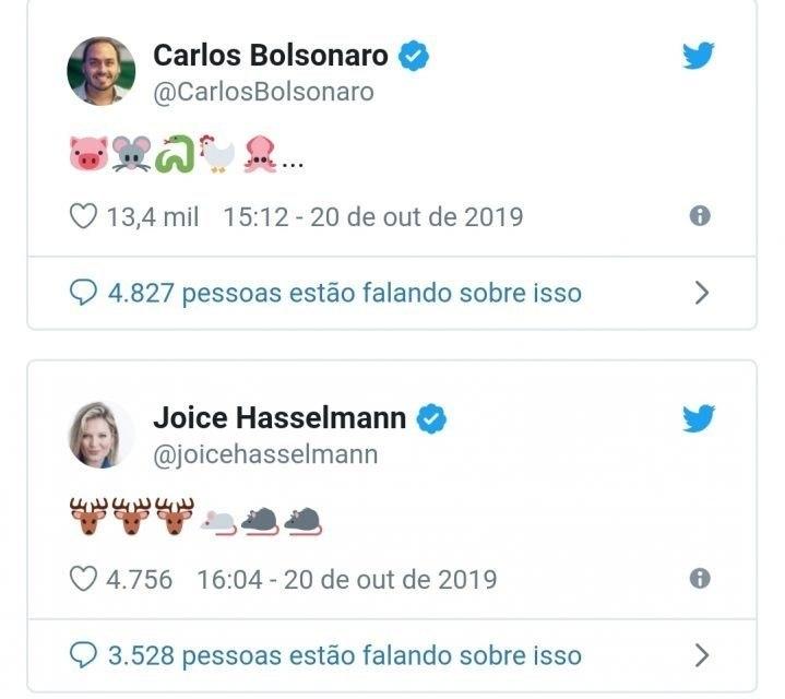 Carlos Bolsonaro e Joice Hasselmann trocaram ofensas no Twitter por meio de emojis