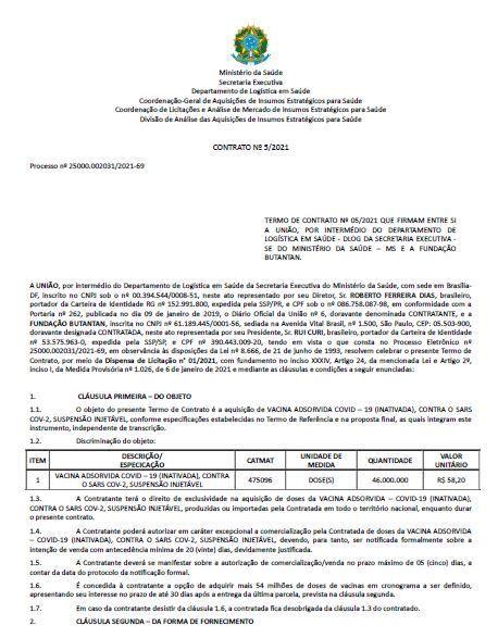 Contrato entre a pasta e o Butantan aponta o custo de R$ 58,20 por dose de vacina