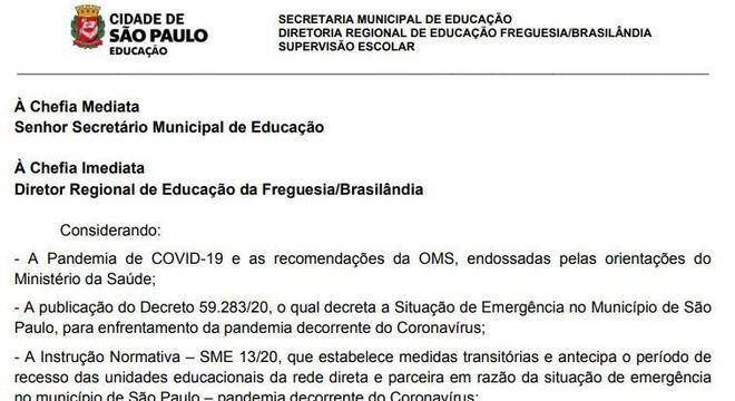 Ofício enviado pela DRE Brasilândia à Secretaria pedindo por teletrabalho