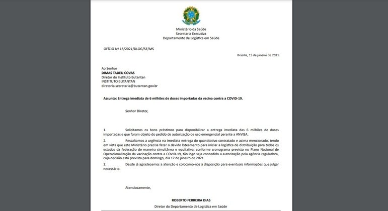 Ofício do Ministério da Saúde solicitando ao Butantan a entrega de 6 milhões de doses da CoronaVac