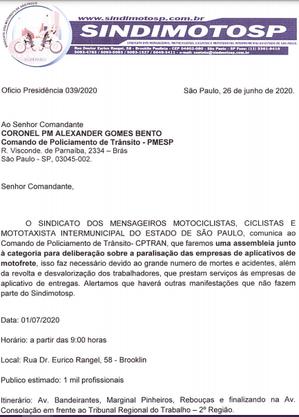 Um dos 4 ofícios do Sindimoto enviados ao R7 mostra aviso sobre protesto