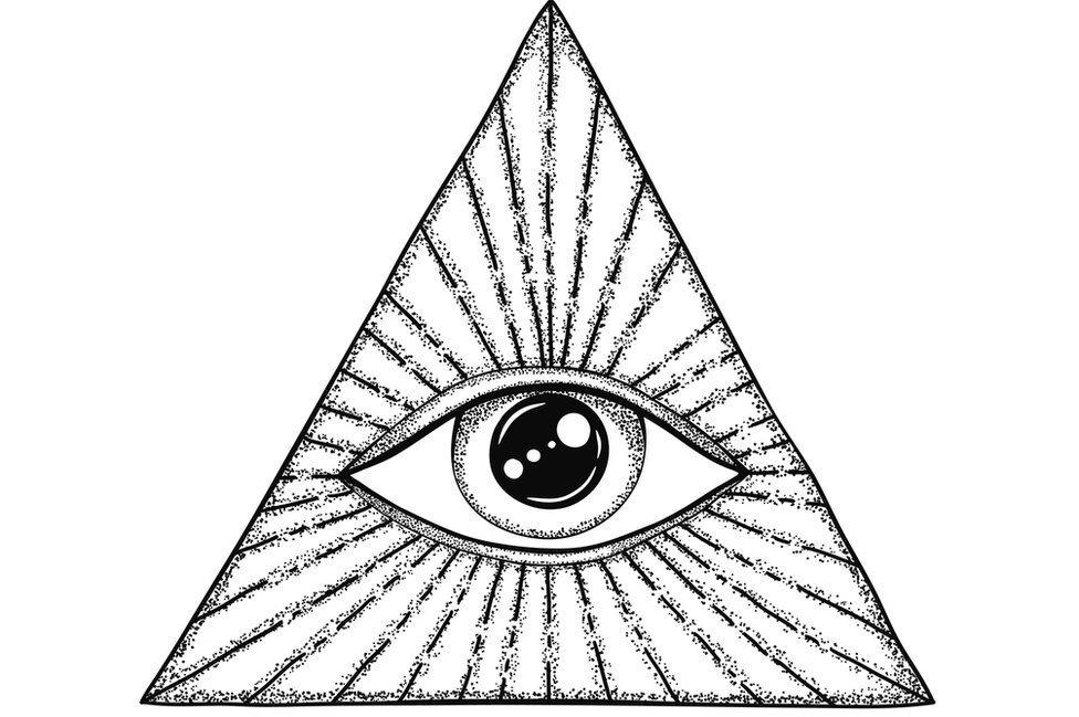 Ao longo da história, diferentes imagens de um olho foram feitas dentro de um triângulo