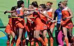 Holanda (foto) e Austrália são as maiores campeãs olímpicas no hóquei sobre a grama feminino, com três ouros. As holandesas chegaram nas últimas quatro finais, vencendo duas delas