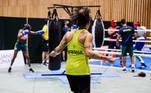 Treino da seleção brasileira de boxe em Tóquio